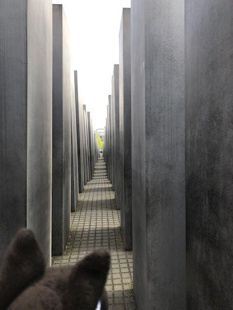Loup devant le Mémorial de la Shoah : 2 711 stèles de béton disposées en maillage, censées produire une atmosphère de malaise et de confusion, représentant un système supposé ordonné qui a perdu le contact avec la raison humaine.