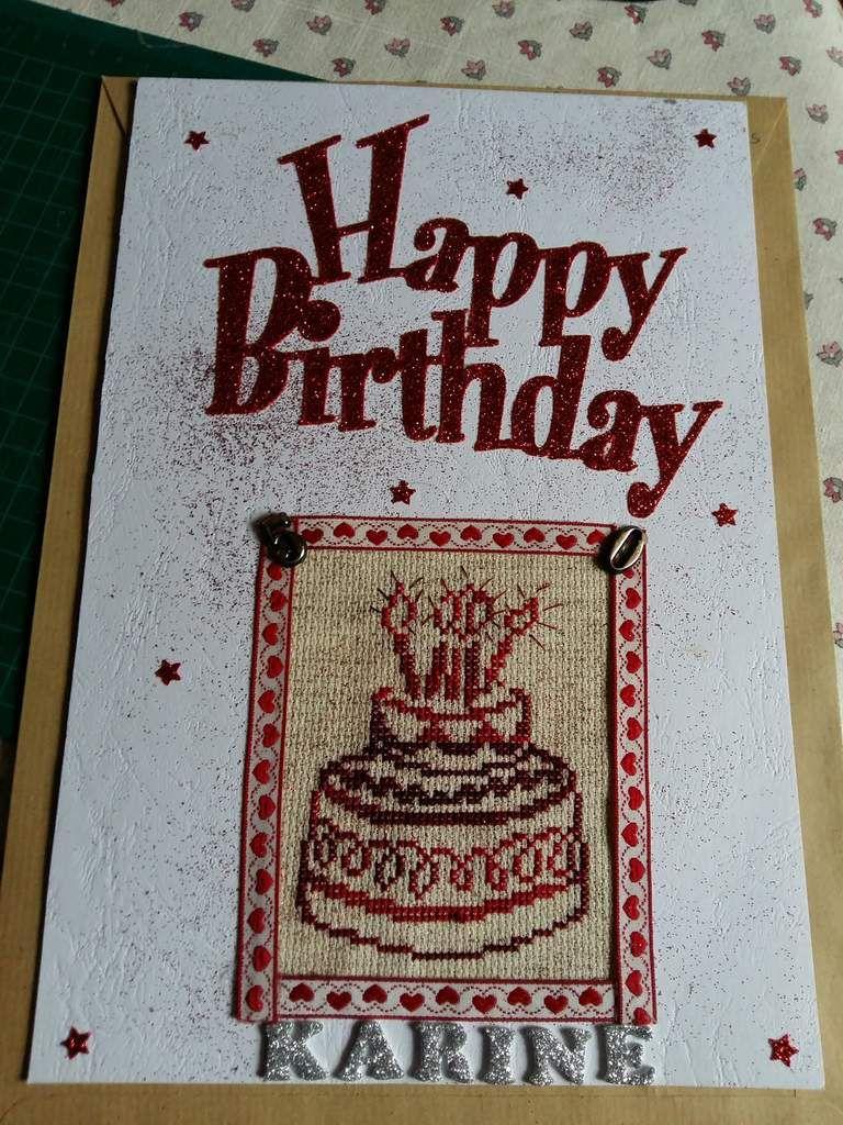 Karine (Luby émy 38 )fête aujourd hui son demi siècle  voici la carte que je lui ai confectionné  pour l occasion