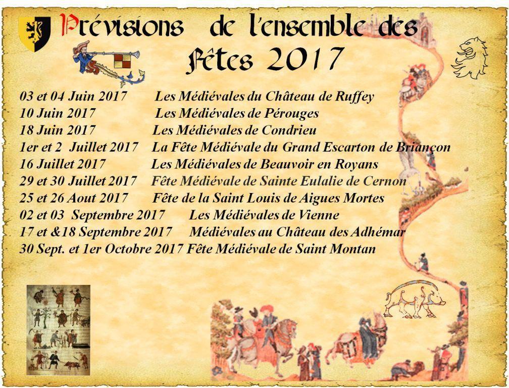 Ensemble des Fêtes et des Campemenents   -  Prévisions du Calendrier 2017