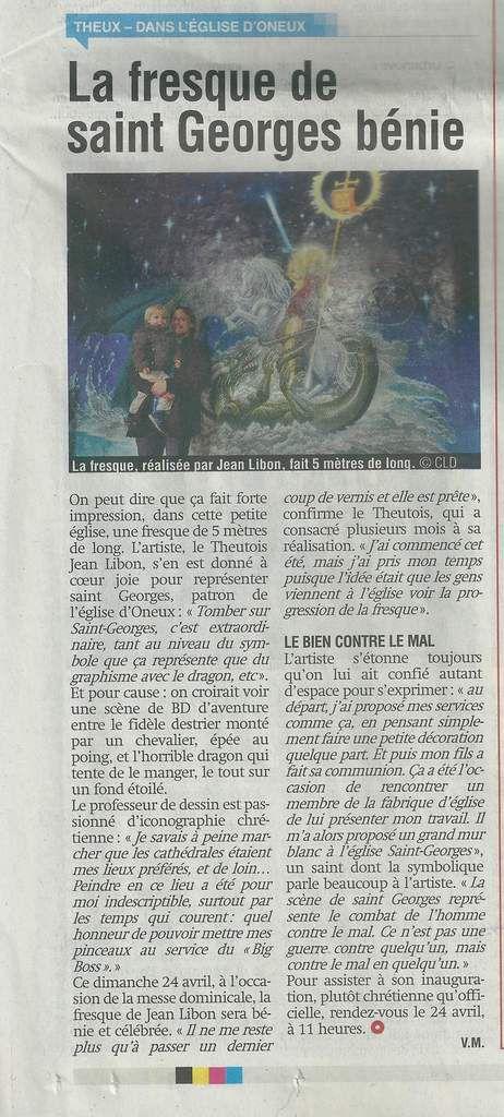 Réactions de la presse à propos de ma fresque dédiée à St Georges