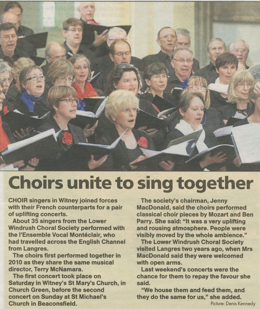 Concert en Angleterre, Witney, mai 2015. avec la Lower Windruh Choral Society