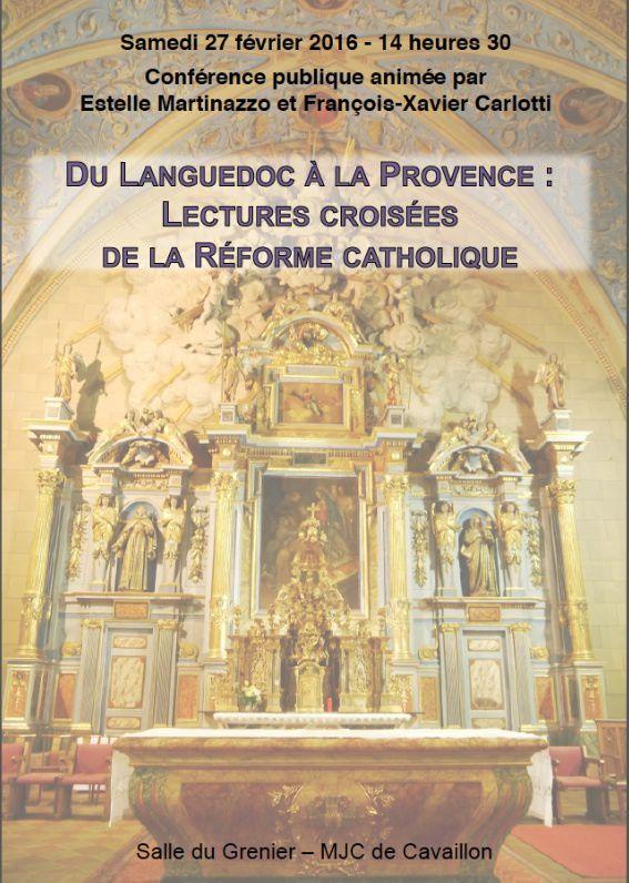 LA RÉFORME CATHOLIQUE : conférence 27 février 2016 à 14h30 à la MJC de Cavaillon