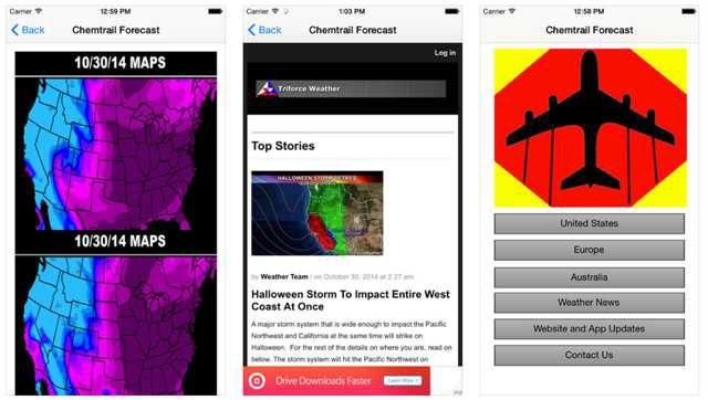Chemtrails : des applications pour mobiles testées pour vous