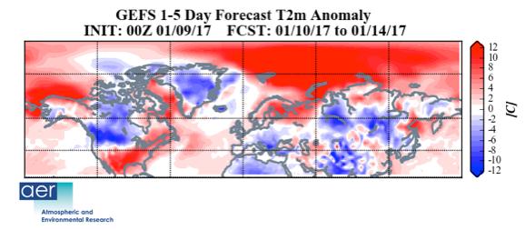 """""""Prévisions des anomalies de la température de surface (température,ombre) du 10 au 14 janvier 2017. Notez les températures chaudes dans une grande partie des États-Unis et de l'Europe du Nord et des températures froides dans le Sud.    En Europe, dans une grande partie de l'Asie et de l'Ouest du Canada et dans le nord-ouest des États-Unis. Les prévisions proviennent de l'ensemble GFS du 9 janvier 2017."""