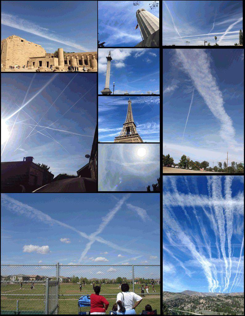 Fig. 1Photographies de particules de matière utilisée en géo-ingénierie déposées dans la troposphère au-dessus des États-Unis, de la France, de l'Angleterre et de l'Égypte. De façon caractéristique, les traînées de particules épandues par des avions diffusent rapidement, devenant des nuages artificiels, qui se transforment ensuite en brume blanche dans le ciel, parfois si dense que le ciel semble couvert, parfois avec une teinte brunâtre Photos de Patrick Roddie et de Deborah Whitman, avec leur aimable autorisation. Egypte:photo de l'auteur.