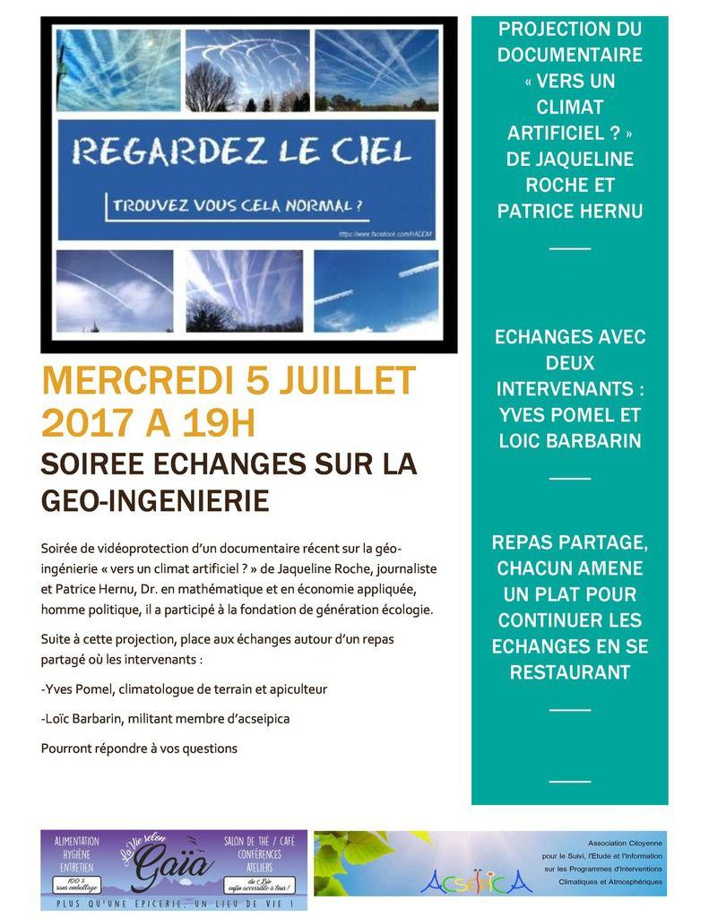 Projection du film   &quot&#x3B; Vers un climat artificiel &quot&#x3B; le 5 juillet à Thonon-les-Bains