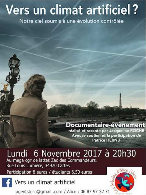 Projection du film &quot&#x3B;Vers un climat artificiel&quot&#x3B; le  6 novembre 2017 près de Montpellier