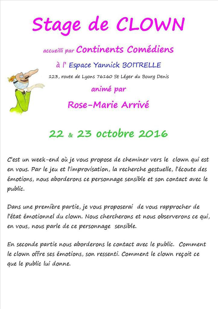 Stage Clown les 22 et 23 octobre 2016