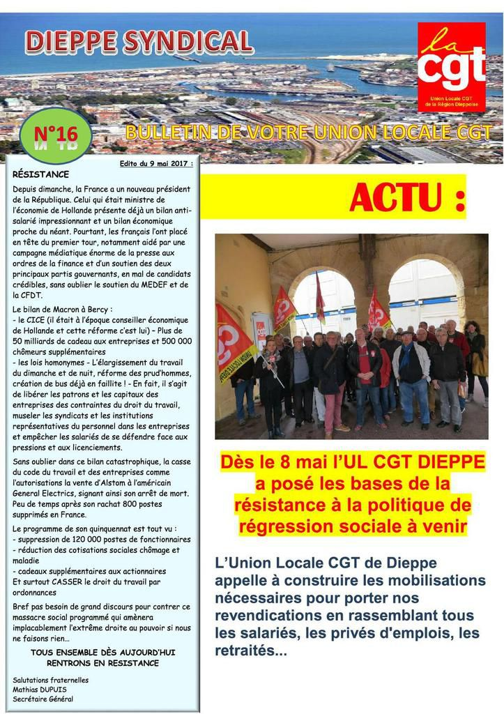 JOURNAL DE L'UNION LOCALE CGT DE DIEPPE N°16