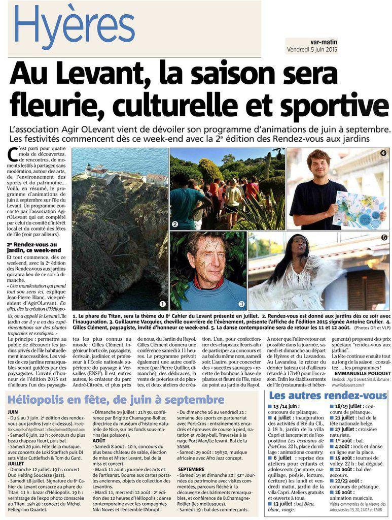 Festivités, culture et sport au Levant pour la saison 2015
