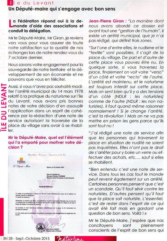 Revue Naturisme de la FFN pages 22 et 23 : le bon sens de Jean-Pierre Giran...