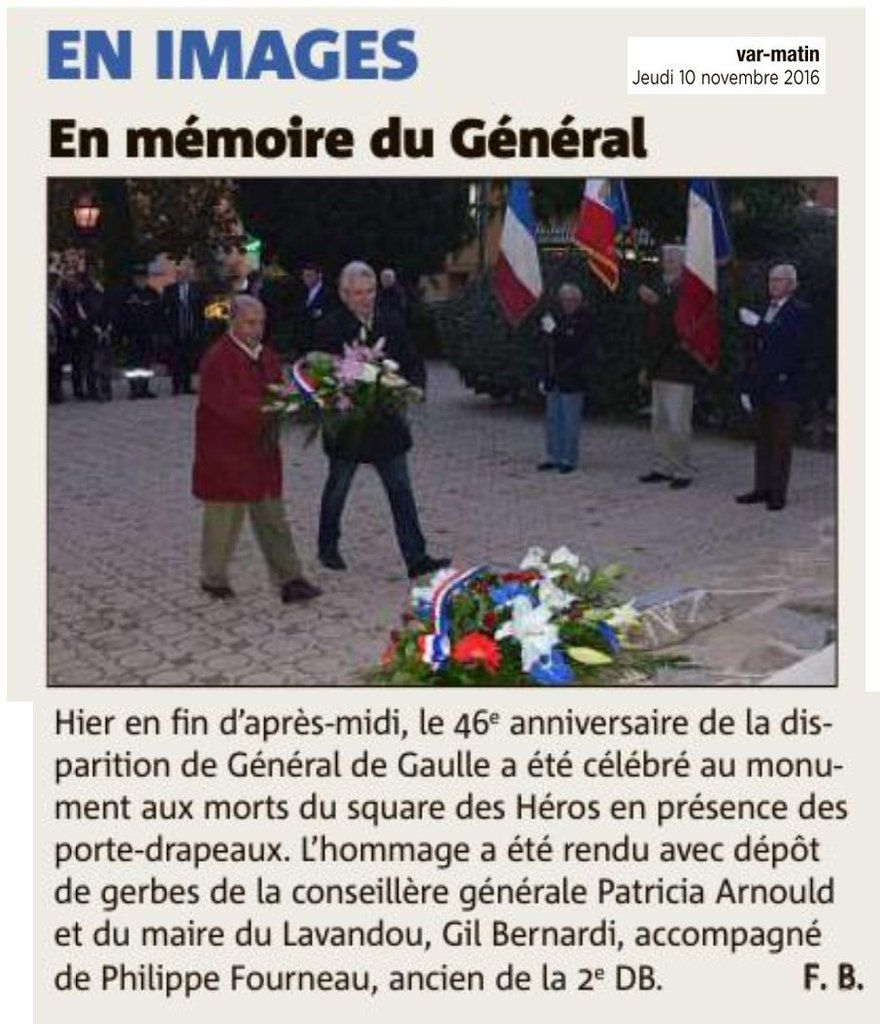 Au Lavandou, en mémoire du Général
