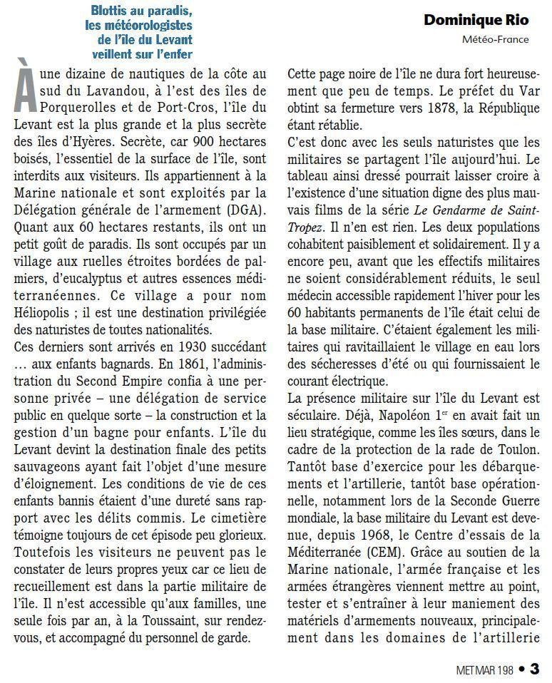 L'île du Levant dans la revue METMAR n°198 de mars 2003