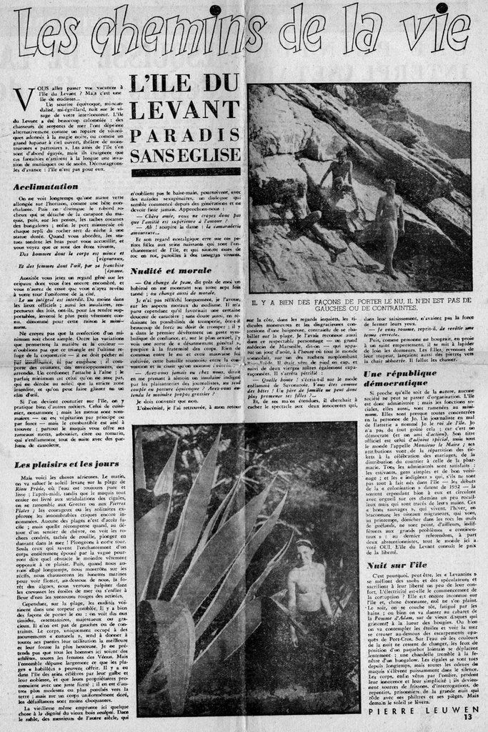1946. Revue ACTION , un article de Pierre LEUWEN&#x3B; Archives personnelles.