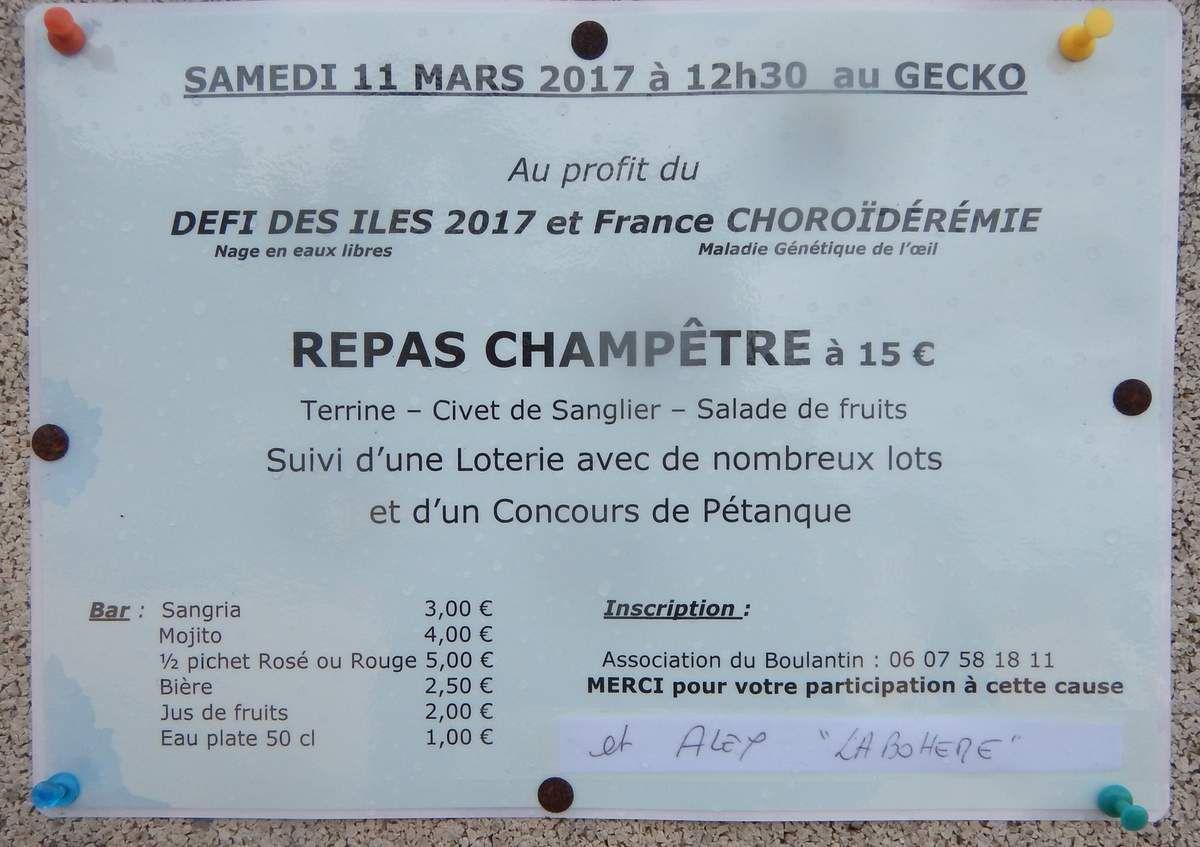 Samedi 11 mars 2017 : Repas champêtre au Gecko