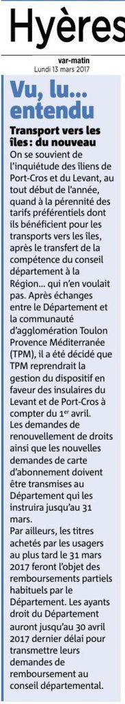 Cartes de transports du Conseil Départemental du Var  (Ligne du Levandou) : Changements