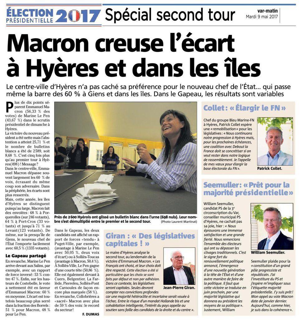 2èlme tour des présidentielles à Hyères et dans les îles