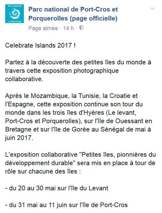 Celebrate Islands 2017 : Exposition photos sur l'île du Levant