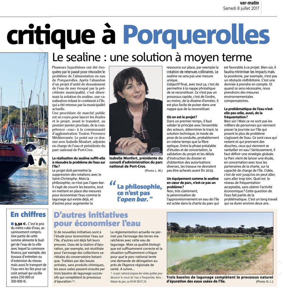 EAU POTABLE SITUATION CRITIQUE A PORQUEROLLES