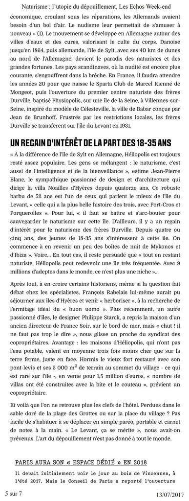 &quot&#x3B;Naturisme : l'utopie du dépouillement.&quot&#x3B; Un article dans les Echos