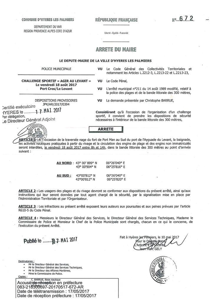 Arrêté municipal du 17 mai 2017