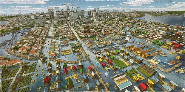 A rendering of Future Lagos, with city design that works with rising sea levels. Courtesy NLÉ and Zoohaus/Inteligencias Colectivas