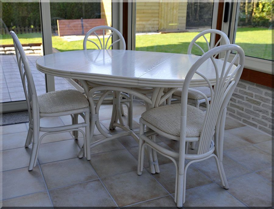 Table et chaise en rotin pour veranda table de lit a for Table et chaise en rotin