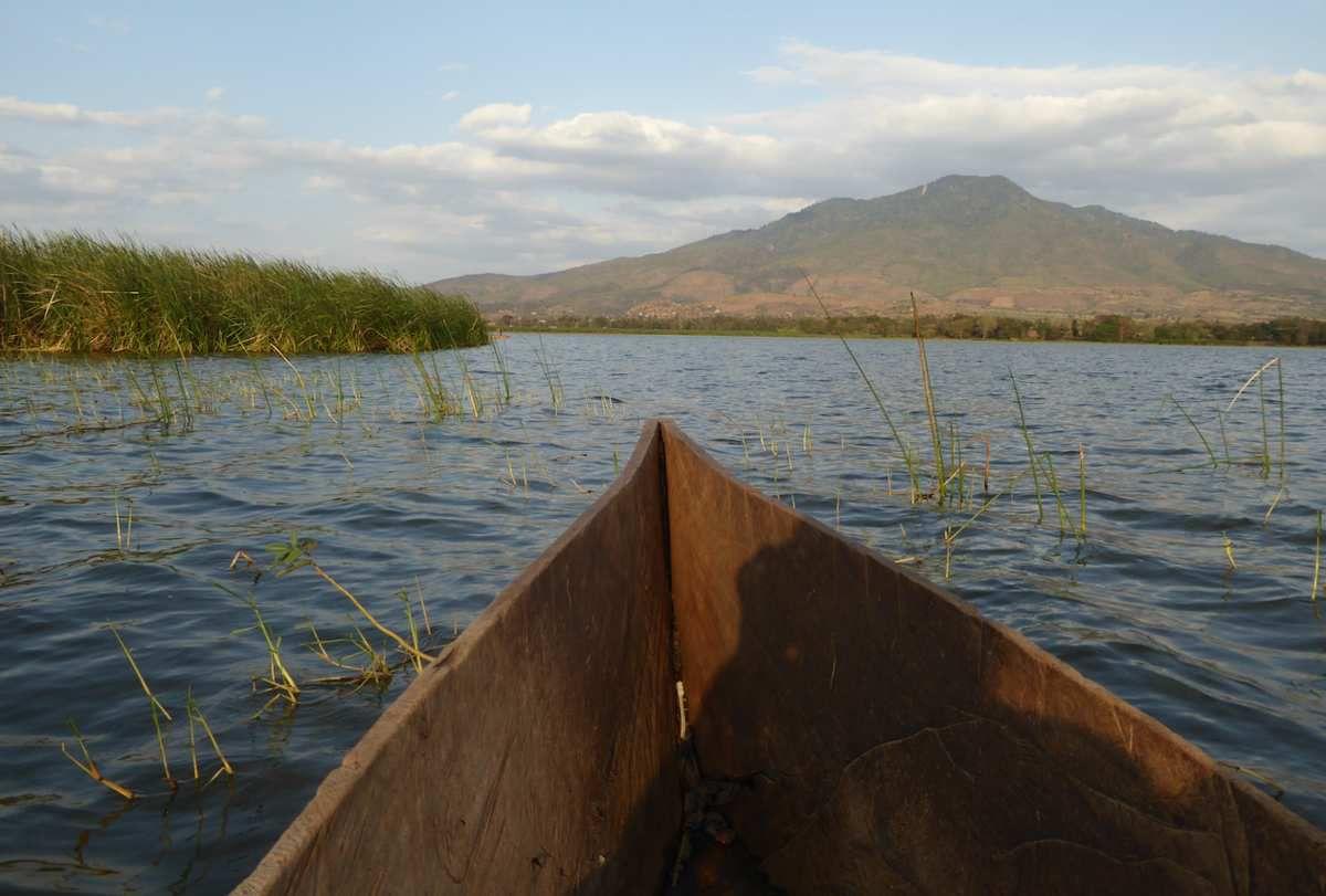 Balade en pirogue sur le lac à la recherche des hippos...