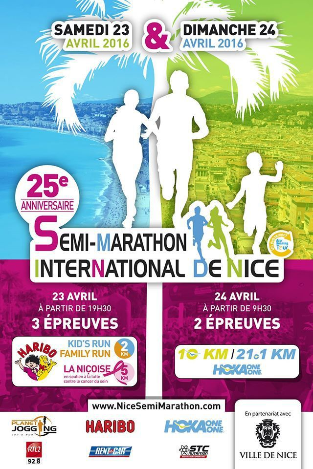 Affiche Semi Marathon de Nice : Mon objectif principal de 2016 &#x3B; Source : Facebook Semi-Marathon International de Nice