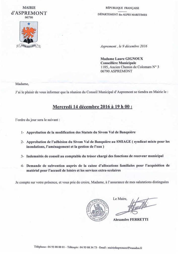 CONSEIL MUNICIPAL DU 14 decembre 2016