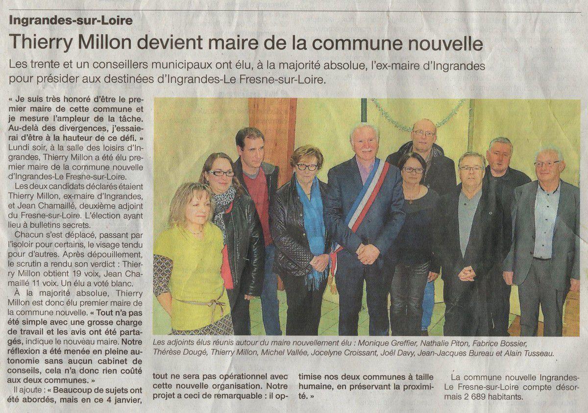 Les communes d'Ingrandes (Maine-et-Loire) et Le Fresne-sur-Loire (Loire-Atlantique) ne font plus qu'une. À sa tête, Thierry Millon, l'ancien maire d'Ingrandes. Lu dans Ouest France du 6 janvier 2016, en attendant les commentaires