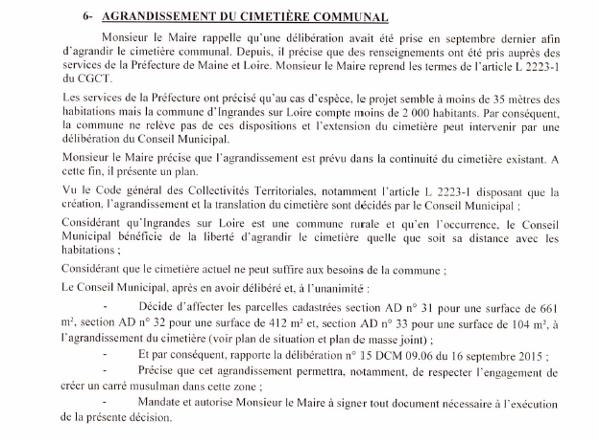Extrait du PV du CM d'Ingrandes sur Loire du 16 décembre 2015