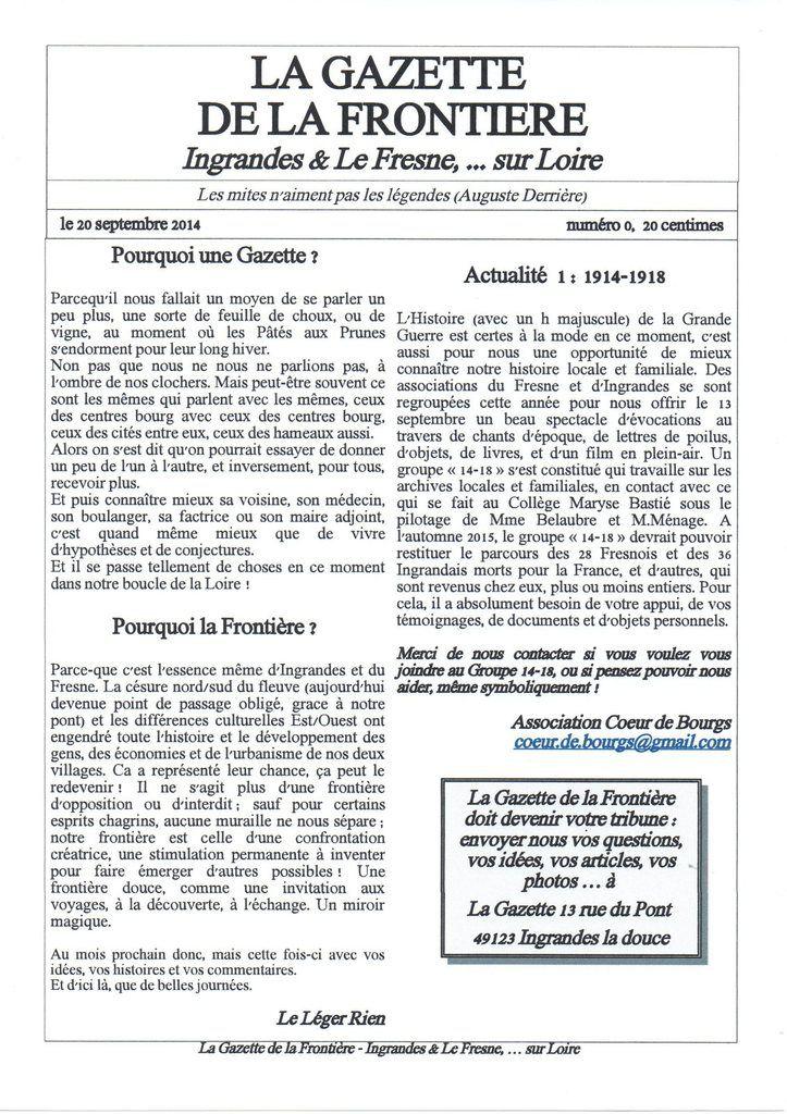 Gazette de la Frontière #0, septembre 2014