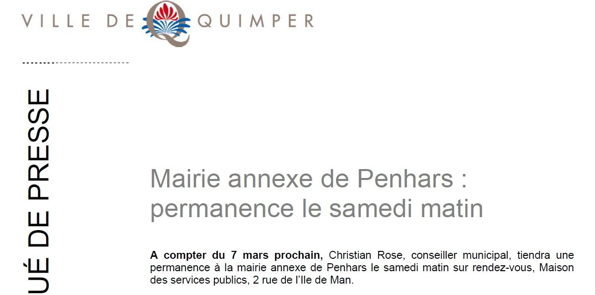 Permanence du samedi à la mairie annexe de Penhars (communiqué)