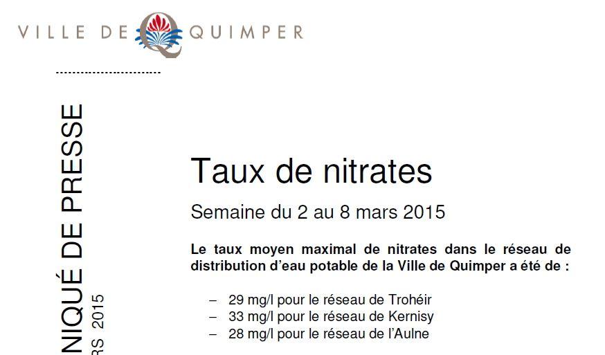 Taux de nitrates à Quimper du 2 au 8 mars