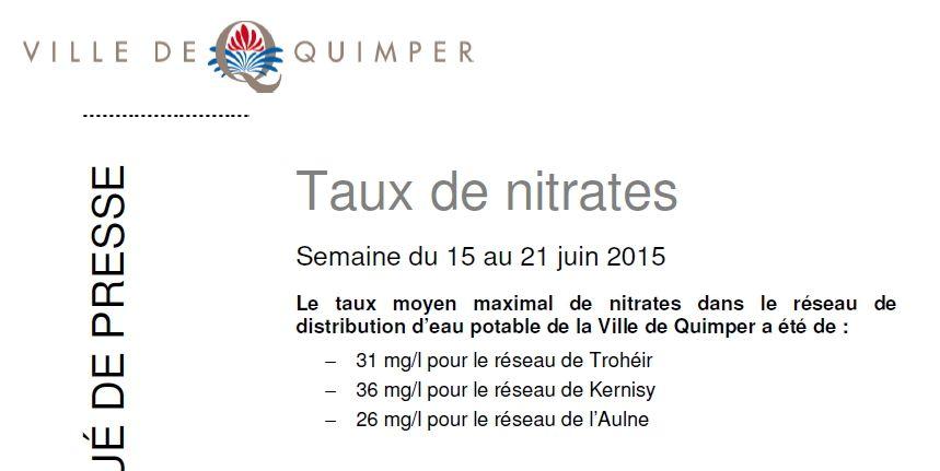 Taux de nitrates à Quimper du 15 au 21 juin