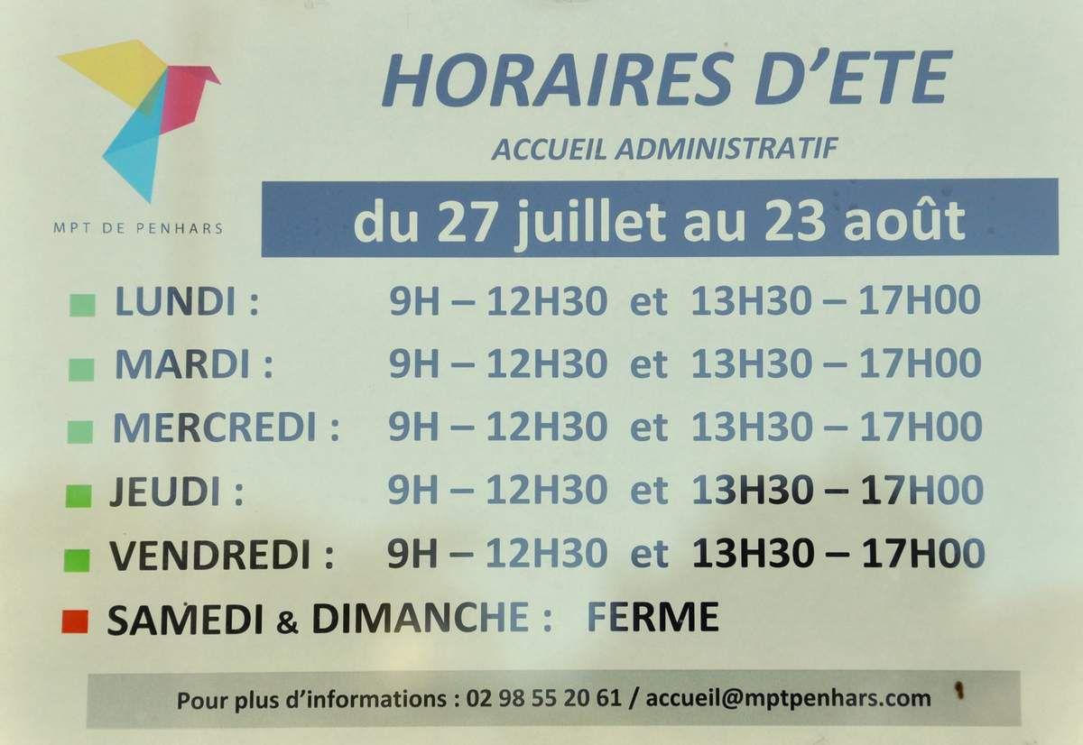 Ouverture/fermeture et horaires d'été à la MPT de Penhars