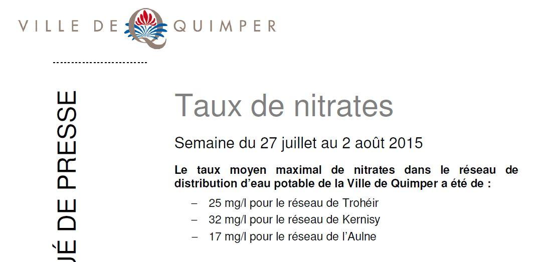 Taux de nitrates à Quimper du 27 juillet au 2 août