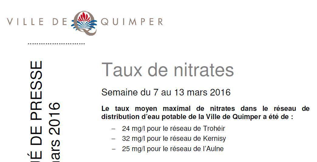 Taux de nitrates à Quimper du 29 février au 13 mars