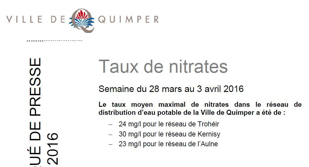 Taux de nitrates à Quimper du 28 mars au 3 avril