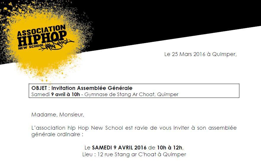 AG de la Hip hop New School le 9 avril