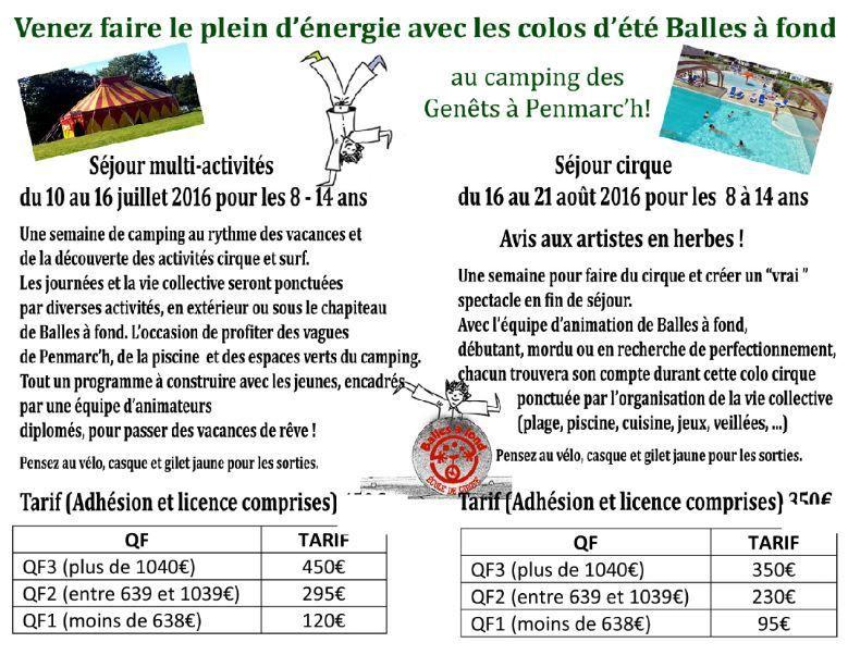 Colo cirque et surf et colo cirque pour les 8/14 ans avec Balles à fond à Penmarc'h