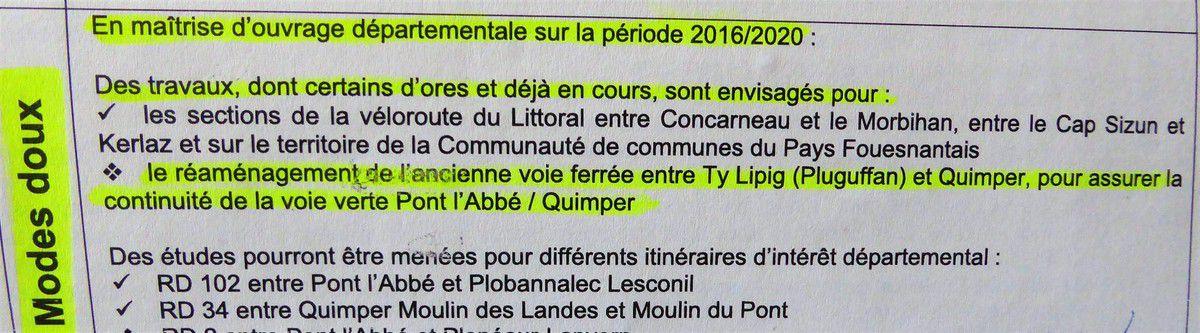 Voie verte Quimper-Pluguffan, normalement avant fin 2020