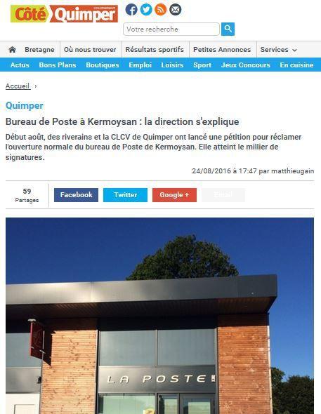 Cliquez sur le lien pour lire l'article de Côté Quimper