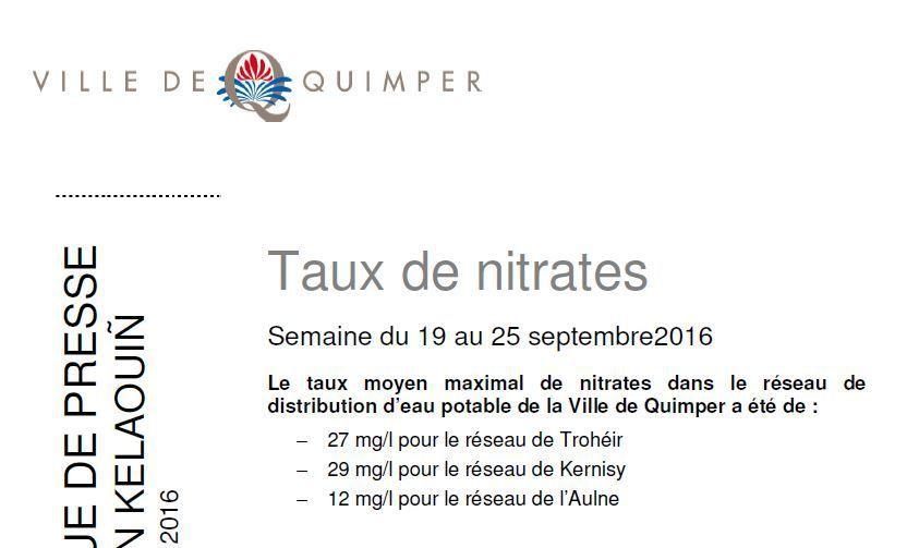 Taux de nitrates à Quimper du 19 au 25 septembre