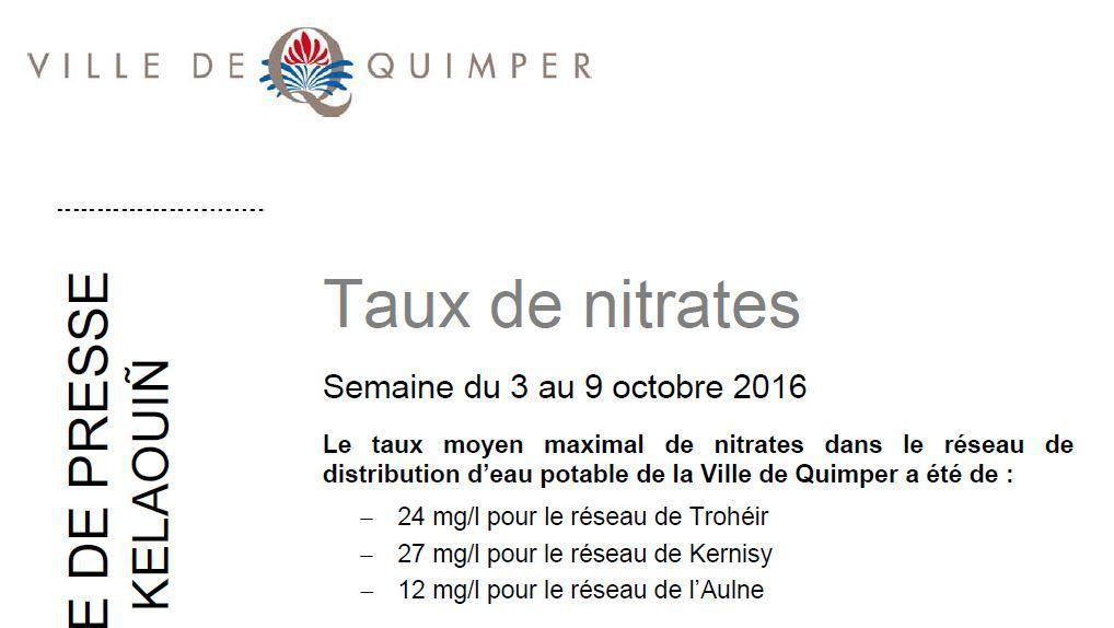 Taux de nitrates à Quimper du 3 au 9 octobre