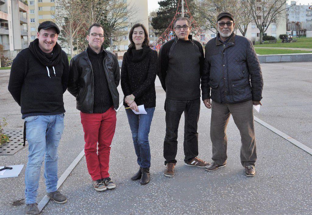David Mathie (MPT), Yannick Saudino (centre social), Sylvia Jambon (MPT) Ahmed Karama et Abdeslam Benrahal (ATCM)