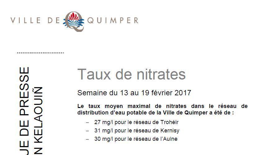 Taux de nitrates à Quimper du 13 au 19 février