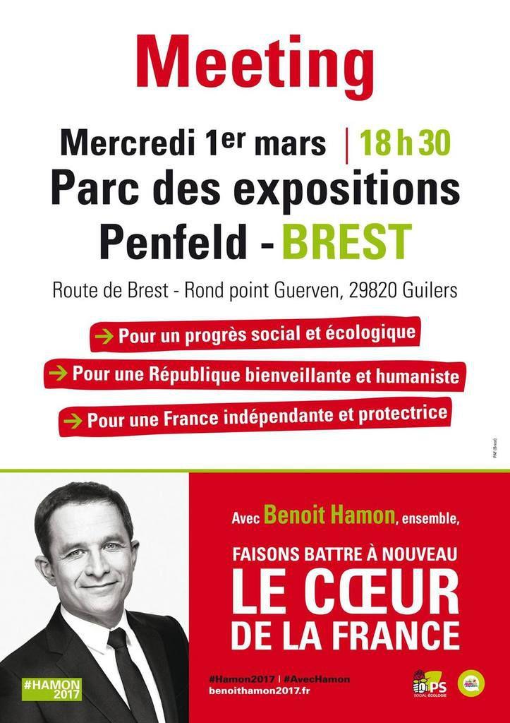 Meeting de Benoît Hamon à Brest (communiqué)