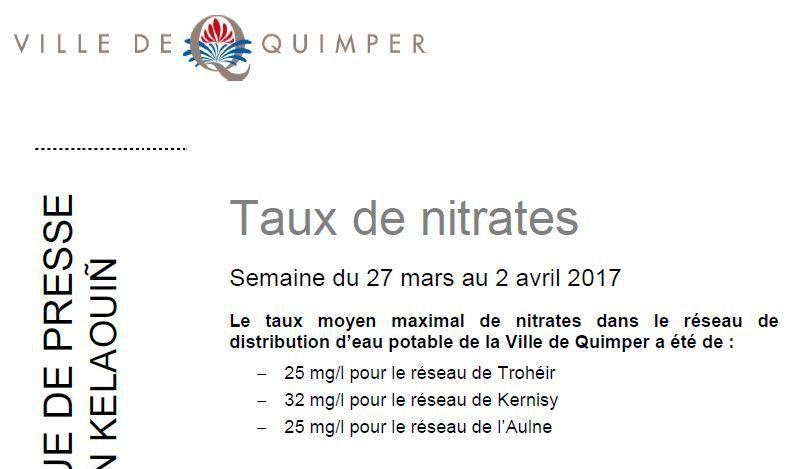 Taux de nitrates à Quimper du 27 mars au 2 avril